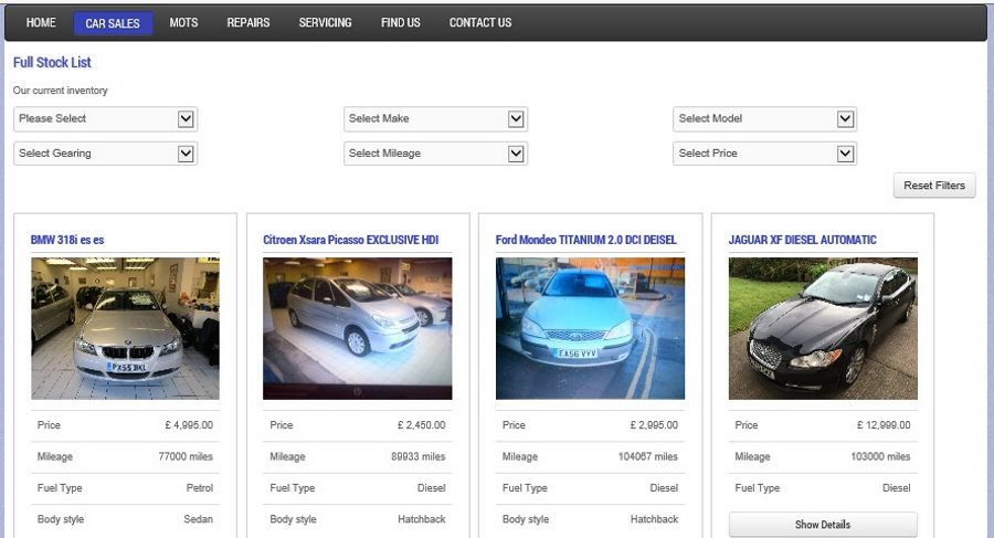 Professional Vehicle Sales Website Design from only £25 per month