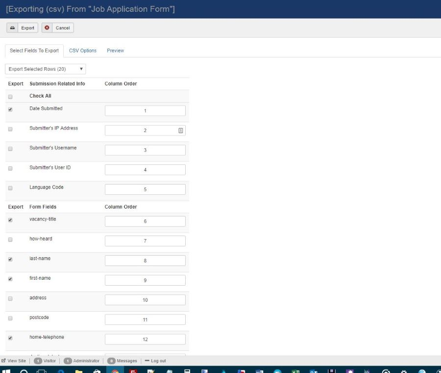 Website form design with CSV export function